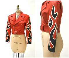Vintage Leather Motorcycle Jacket RED Small by Michael Hoban North Beach Leather// Vintage Leather Biker Jacket with Flames Red Black Vintage Leather Motorcycle Jacket, Motorcycle Style, Motorcycle Helmets, Best Leather Jackets, Moto Style, Indian Motorcycles, Vintage Motorcycles, Satin, Clothes