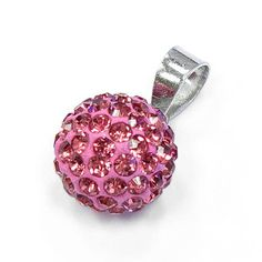 Sterling Silver Pink CZ Ball Pendant 10 mm $14.99
