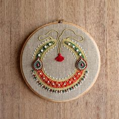 Hoop art Indian Jewellery machine embroidery linen with by VLiving