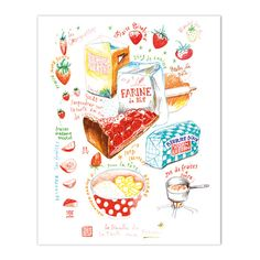 """Strawberry pie recipe Archival giclee reproduction print from my watercolor illustration. Signed with pencil. Printed on fine art """" BFK Rives """" hot-pressed paper, smooth surface, 140 lb, 100% cotton ("""