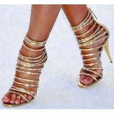 FSJ Tammy Gold Strappy Caged Sandals