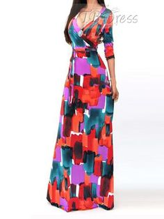 Orange Red V-Neck Womens Maxi Dress (Plus Size Available)