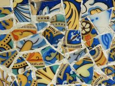 Gaudi Mosaic at Park Guell, Barcelona Mosaic Wall, Mosaic Tiles, Gaudi Mosaic, Art Decor, Decoration, Colour Architecture, Arabesque Pattern, Antoni Gaudi, Mosaic Garden