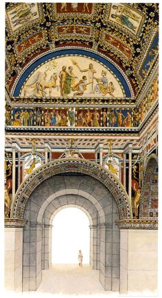 Artist's reconstruction of the interior frescoes of the Colosseum.  Spectators would view these frescoes as they walked to their seats in the interior.