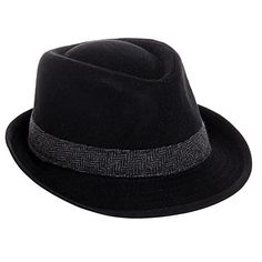 736ad0426f0 Dorfman Pacific Men s Wool Blend Herringbone Band Fedora Hat (Black