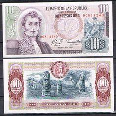COLOMBIA-BILLETE-10-PESOS-ORO-ANO-1980-Pick-407g-SC-UNC Coin Collecting, Postage Stamps, Retro Vintage, The Past, Nostalgia, Carving, Color, Viajes, Patriotic Symbols