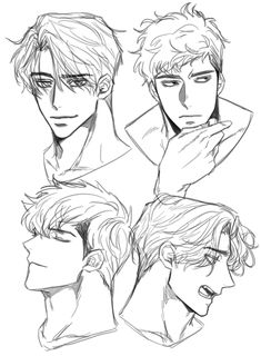 Male Face Drawing, Anime Face Drawing, Face Drawing Reference, Body Drawing, Drawing Reference Poses, Drawing Poses, Anime Male Face, Anime Faces Expressions, Drawing Expressions