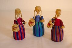 Swedish Vintage Wooden Dolls - Handmade and Handpainted by DeeGeeRetro on Etsy