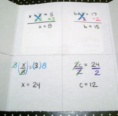 Solving 1 Step Equations Foldable - Inside