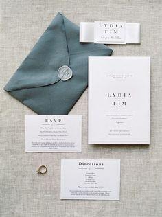 The blue of this envelope is a great shade!   #weddingpapergoods #weddingstationery   #weddingflatlays