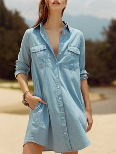SHARE & Get it FREE | Two Pockets Light Blue Overshirt Chambray ShirtFor Fashion Lovers only:80,000+ Items • New Arrivals Daily • FREE SHIPPING Affordable Casual to Chic for Every Occasion Join Zaful: Get YOUR $50 NOW!