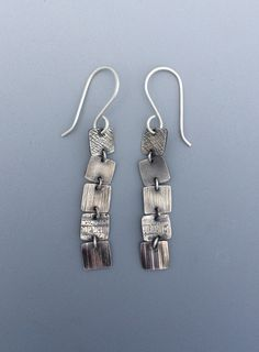 Sterling Silver - Elegant Earrings - Textured Silver - Silver Dangles - Forged - Contemporary - Classy - Unique - Anniversary Gift by bgConstructions on Etsy