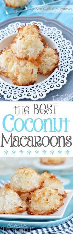 For the true coconut lovers out there - this is my all-time favorite recipe for the Best Coconut Macaroons!  Made without sweetened condensed milk, the delicate, sweet flavor of coconut really shines through.  Chewy on the inside and perfectly toasted on the outside, dry macaroons are a thing of the past. | MomOnTimeout.com