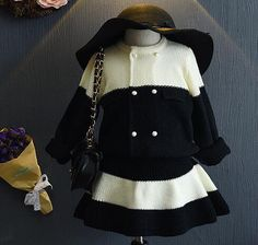 >> Click to Buy << 2016 new brand fashion big black and white knitted wool cardigan children knitted skirt suit 2pcs clothes sets for2-7years old #Affiliate