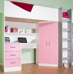 Unique Comfy Small Cabin Beds Calder Cabin High Sleeper Bed White And Pink