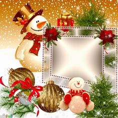 Christmas is here! Snowmen Christmas card frame. Click to add your own photo and save or share for free! From www.imikimi.com, love that site.   #snowmen #Christmas #merrychristmas #snow