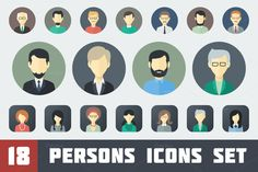Flat Persons Icons Set 1 by MastakA on Creative Market
