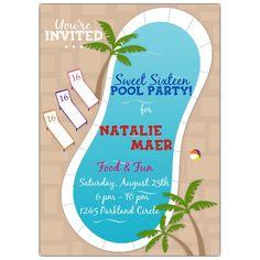 Pool Party Invitation Sweet 16 Invitations Sixteen Custom