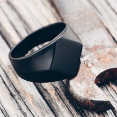 Here's another shot of our brand new Berlian ring, this time in matte black. Grab this hefty piece of gear for $60 at vitalydesign.com // worldwide shipping available #vitaly #fashion #black #ring