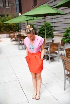 i love orange and pink together, as well as skirts with pockets.