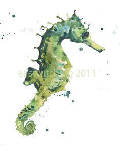 watercolor sea horse