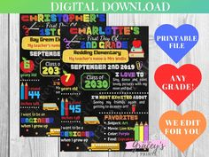 Rainbow Back to School First Day of School Customizable | Etsy - GraceysPrints  #personalizedprintables #backtoschool #backtoschoolideas #nurseryideas #kindergartenart #digitaldownloadshop #etsyfinds #custommade #school #anygrade