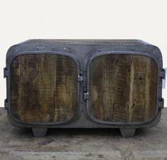XL Massives Sideboard aus Metall Holz im Loft Design; Schrank Regal Ablage Retro 007
