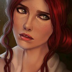 Portrait Triss Merigold from Witcher based on some girl's photo, but done with my style. The Witcher Geralt, Witcher Art, Triss Merigold Witcher 3, Character Portraits, Character Art, Fantasy Characters, Female Characters, The Witcher Books, Photo Portrait