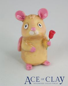 Polymer Clay Mouse with Red Rose Figurine
