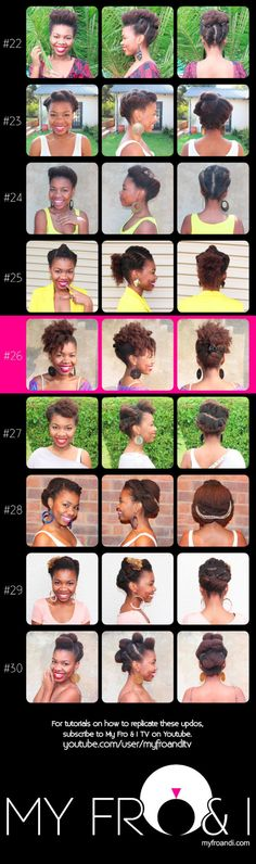 30 Protective Styles for Natural Hair Part 3  Check out MyFroandITV for video tutorials.  Source: myfroandi.com
