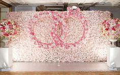 """Amaraay : The Event Diaries """"Gorgeous Engagement backdrop decor . A lovely art of flower pasting leading to a ring in the centre"""" Engagement Stage Decoration, Marriage Decoration, Wedding Stage Decorations, Backdrop Decorations, Backdrops, Engagement Ideas, Engagement Ring, Floral Backdrop, Event Decor"""