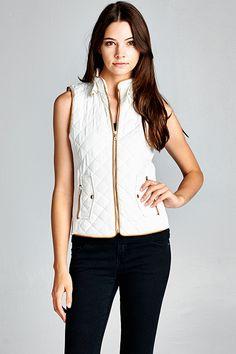 Ivory Quilted Zip Vest