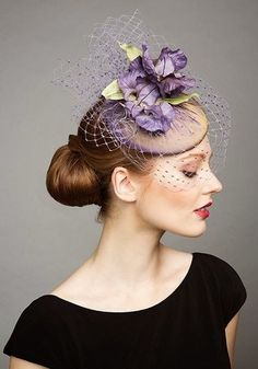 Rachel Trevor Morgan Millinery S/S Lilac pillbox with veil and purple silk flowers Millinery Hats, Fascinator Hats, Fascinators, Headpieces, Pillbox Hat, Silly Hats, Fancy Hats, Rachel Trevor Morgan, Tea Party Hats