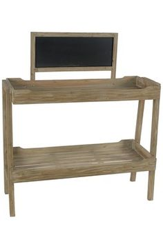 Wide Shelf with Chalkboard.   If you had veggies or fruit to sale, this would be a great stand. ;)