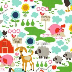 Farm Life Barn Animals White  Michael Miller by #spiceberrycottage, $8.95