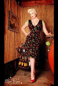 OMGosh this is perfect! Pinup style AND cherries! And its ONLY $72 (I say only because all the others I love are $200 LOL)  Anna Dress in Black Cherry Print