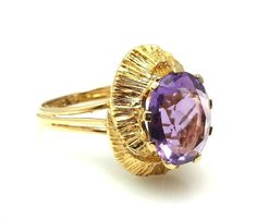 VINTAGE AMETHYST RING 18K SOLID YELLOW GOLD SIZE 7 ESTATE  #jewelry #amethyst  #Ring