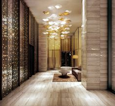 metal screen/partitions for interior design Lobby Interior, Interior Architecture, Interior And Exterior, Commercial Architecture, Commercial Design, Commercial Interiors, Grand Hall, Public Hotel, Lobby Design