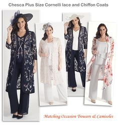 a6d4f246329 Chesca Mother of the Bride Wedding Coats Matching Trousers and Camisoles  Evening Trousers