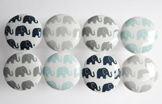 Super cute elephant pattern knobs in navy blue, light blue, dark gray and light gray! (I can make these in any color. If you want another color, just ask!) These are beautiful white ceramic knobs with extra durable hard resin tops. You may order the set of 8 as shown or order them individually. Please list your design choices in the Note to leilasloft box at checkout. ▄▄▄▄▄▄▄▄▄▄▄▄▄▄▄▄▄▄▄▄▄▄▄▄▄▄▄▄▄▄▄▄▄▄▄▄▄▄▄▄▄▄ MADE-TO-ORDER- CURRENT TURNAROUND TIME IS 4-5 WEEKS. ▄▄▄▄▄▄▄▄▄▄▄▄▄▄▄▄▄▄▄▄▄▄▄▄...