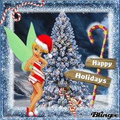 ~*The Tinkerbell Lover New Challenge ~ Tinkerbell & Candy Canes Tinkerbell Quotes, Tinkerbell Pictures, Tinkerbell And Friends, Tinkerbell Disney, Peter Pan And Tinkerbell, Fairy Pictures, Disney Fairies, Disney Merry Christmas, Christmas Art