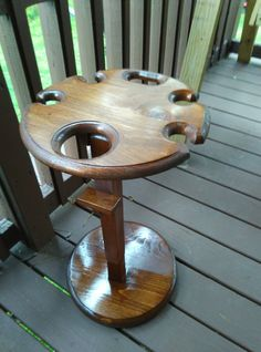 Items similar to Wine table with a sturdy removable base - Easy to store with a folding top. Holds 4 wine glasses and a bottle of wine. Barrel Projects, Wood Projects, Woodworking Projects, Wine Table, Glass Table, Wine Glass Holder, Wine Night, Wine Decor, Wine Storage