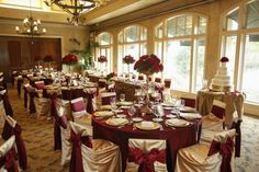 Gold and maroon table