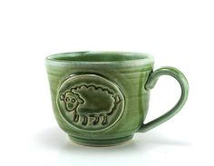 Sheep Mug Handmade Green Ceramic Coffee Mug or by MiriHardyPottery, $28.00