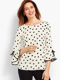 You'll be a standout in our Crepe Tie-Sleeve Dot Top - only at Talbots! Kurta Designs, Blouse Designs, Sewing Blouses, Sleeves Designs For Dresses, Short Tops, Trendy Tops, Mode Inspiration, Blouse Styles, Dress Patterns
