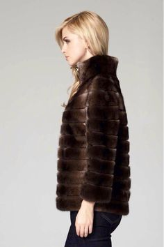 Lilly E Violetta Chestnut Mink Fur Jacket