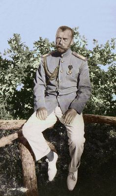 Tsar Nicholas II in tennis whites sat on a fence and and (unusually) not wearing his hat with his tunic. (Source Romanov Photo album Vol 3 Tsar Nicolas Ii, Tsar Nicholas, Tennis Whites, House Of Romanov, Winter Palace, Adele, Imperial Russia, Military Personnel, World War I