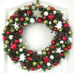 Türkranz Weihnachten XXL rot grün weiß 38cm Kugelkranz Wandkranz Weihnachtskranz