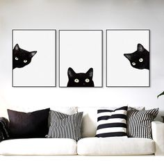 "This 3 piece modern art set of a curious black cat peaking from the white canvas background is both a playful and interesting art piece. Home Decor For Wall Home, Office, Bar, Restaurant, Bedroom, Living Room, Dining Room, Kitchen, Loft, Apartment, Studio, Bathroom, Mancave Style Modern, Creative, Novelty Material Canvas Size 8""x10""x3Pcs 8""x12""x3Pcs 12""x16""x3Pcs 16""x20""x3Pcs 20""x27.5""x3Pcs 23.5""x31.5""x3Pcs 27.5""x39""x3Pcs Color Black and White Parts/Accessories 3 Canvas Panels, Unframed…"