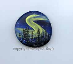 HAND PAINTED STONE art scene night northern by OriginalSandMore, $28.00